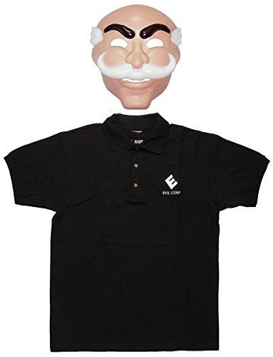 Evil Morty Costume (Mr Robot Mask and Evil Corp Polo Shirt Costume Set (3X-Large))