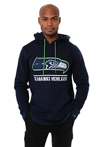 (Icer Brands NFL Seattle Seahawks Men's Fleece Hoodie Pullover Sweatshirt Embroidered, Small, Navy)