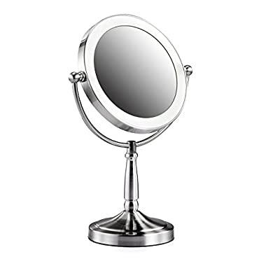 ASSIS LED Lighted Makeup Mirror Vanity Large Tabletop 8-Inch Cordless Double-Sided 1X and 3X Magnifying Natural Daytime Lighted Fogless Round Mirror,Satin Nickel Finish