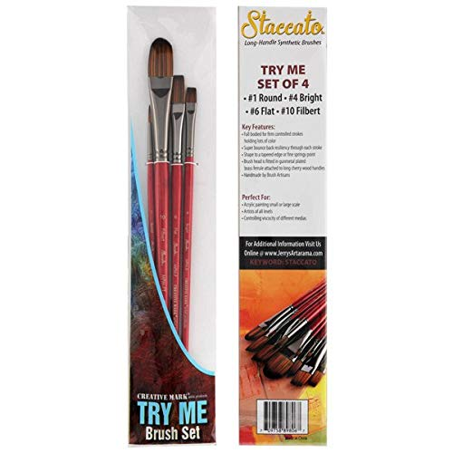 (Creative Mark Brush Sets - Try Me Set of Staccato Long Handle Paint Brush -)