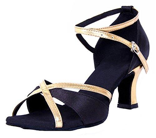 5 M Open Women's Chunky Latin Heel B Honeystore US Shoes 5 Toe Dance Black Swq7zqxZB