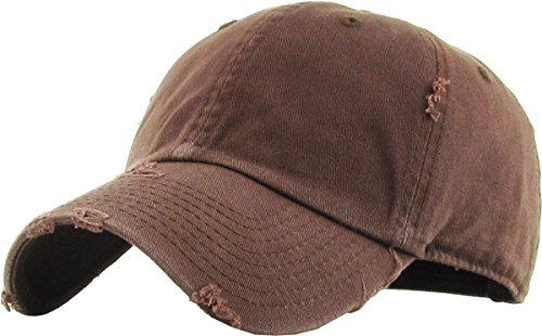 KBE-VINTAGE BRN Vintage Washed Cotton Dad Hat Baseball Cap Polo - Polo Mens Visor