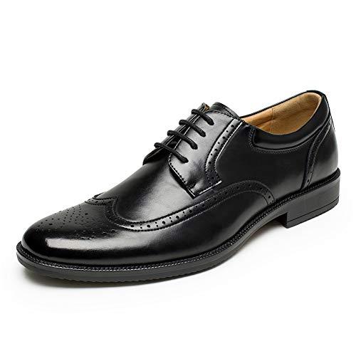 Men's Wingtip Brogue Dress Oxford Shoes Classic Modern Business Lace up Oxford Shoes Black Size 8