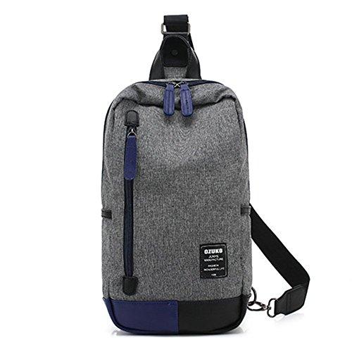 gossipboy Herren Fashion Sling Bag Einfache Stil Oxford Casual Tagesrucksack Crossbody Brust-Tasche Outdoor Schultertasche grau