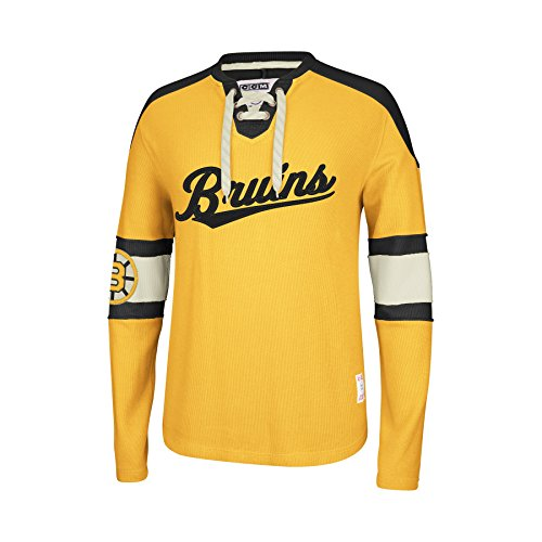 Boston Bruins CCM Reebok NHL Knit Rib Crew Skate Lace Shirt Reebok Bb