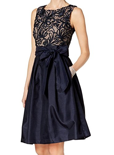 Jessica Howard Petite Navy Sleeveless Embroidered Fit & Flare Dress P