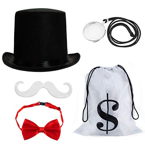 Monopoly Man Costumes (Tigerdoe Rich Uncle Costume Accessories - Board Game Costume - Costume Money Bags - Rich Man Top Hat - 5)