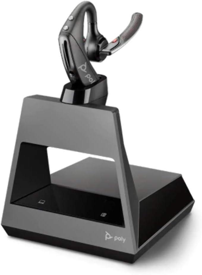 Plantronics Voyager 5200 Office - Auricular con Bluetooth (tecnología WindSmart, micrófono adaptativo, IPX4, botón de Control por Voz, NFC, estación de Carga con USB-A, Color Negro, tamaño único