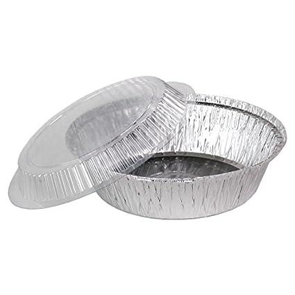 "100 bandejas de aluminio plataforma redonda con tapa (PET) modelo ""Milano"""