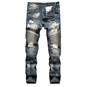 NITAGUT Men's Ripped Slim Straight fit Biker Jeans with Zipper Deco