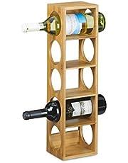 Relaxdays Bamboerek formaat 53 x 14 x 12 cm, 5 niveaus, moderne flessenhouder voor horizontale houd, stapelbaar, natuurlijk bruin, hout, 12 x 14 x 53 cm