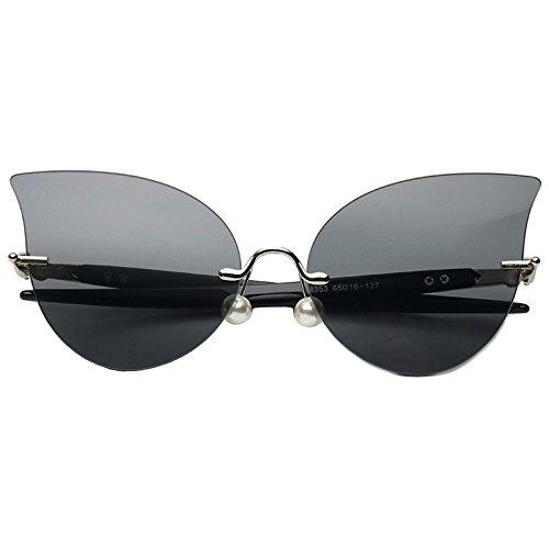 Mujeres De Sin Decoración Gafas Perla Gafas Gris Gato Reborde Gray Black TIANLIANG04 De Sol De Ojo Negro TpCnXq