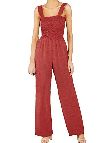 (FANCYINN Women's Ruffled Shoulder Strap Smocked Bodice Sleeveless Jumpsuit Square Neckline Causal Romper with Pockets Brick Red XL)