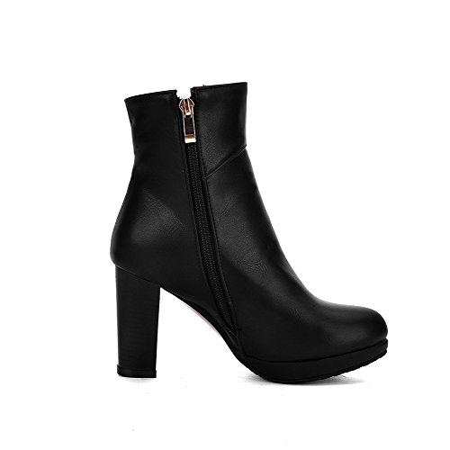 Charms Solid High Zipper Black Boots Women's Low AmoonyFashion with top Heels PU vOAqTan4