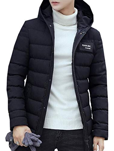 Winter Men's Jacket Black Cotton Hooded Quilted Fashion Outerwear Sports EKU qRwX15q