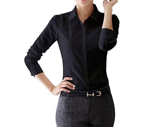 Tops Unie JackenLOVE Fashion Bureau Slim t Revers Femme Blouse Haut Chemisiers Shirt de Manches Tee Couleur Casual Noir2 Courtes tqqw8X1r