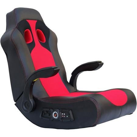 Ace Bayou X-Rocker Vibe Video Game Chair with 2.1 Audio Chair Bluetooth and Arms – Black / Red