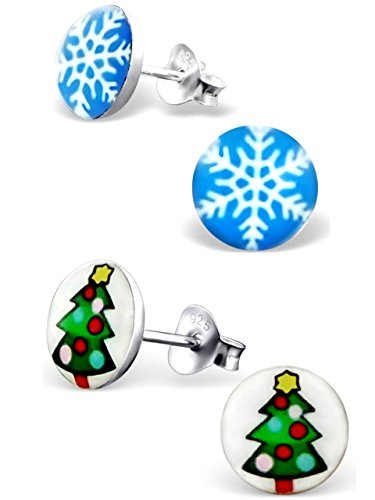 (925 Sterling Silver Hypoallergenic Set of 2 Holiday Pairs Christmas Tree, Blue Snowflake Stud Earrings for Girls (Nickel Free))