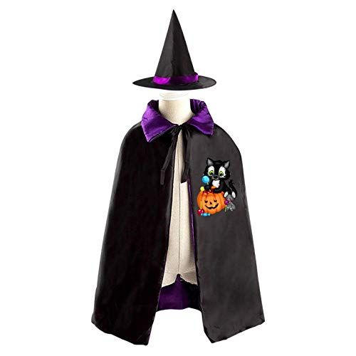 69PF-1 Halloween Cape Matching Witch Hat Sweet Black Cat Wizard Cloak Masquerade Cosplay Custume Robe Kids/Boy/Girl Gift Purple