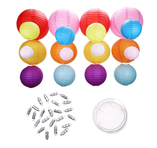 20 Colored Paper Lanterns - Extra-Thick Material - 24 Bright Battery Operated Hanging LED Lights - Large and Small Colorful Decorative Lantern Kit for Kids Birthday Party - Wedding - Patio Decoration ()