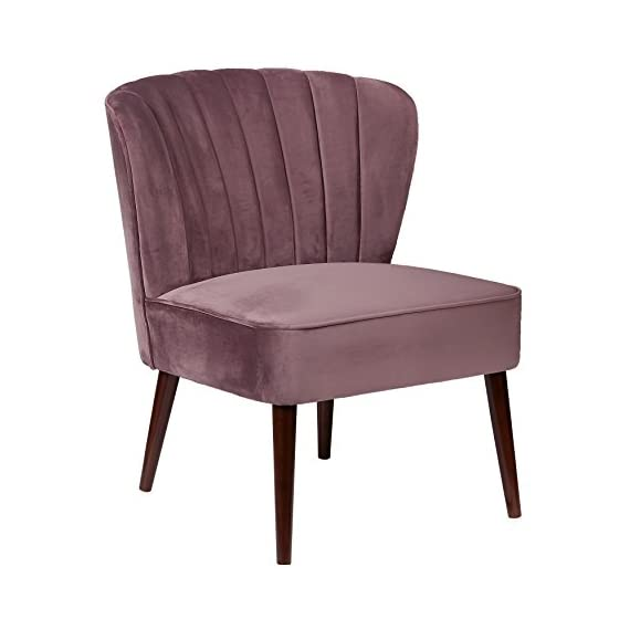 "Pulaski Channeled Armless Accent Chair, Lilac - The perfect design statement, this accent chair provides a unique curved back, accented by channeled stitching, 28.3"" L x 28.9"" W x 33.5"" H Round tapered espresso finished legs - living-room-furniture, living-room, accent-chairs - 41OLTFgQopL. SS570  -"