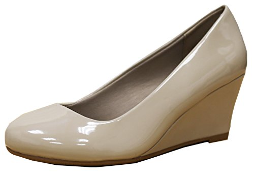 Cambridge Select Womens Classic Slip-on Balletto Metà Zeppa Pompa Tallone Beige Brevetto
