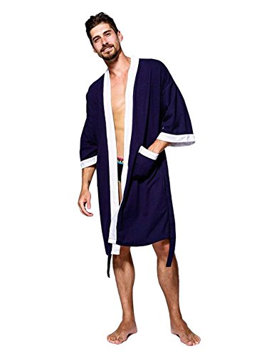(Kimono Robe Men Plus Size Lightweight Cotton Waffle Jersey Spa Robe Plush Bathrobe Loungewear Nightgown Sleepwear, Navy Blue, Large)