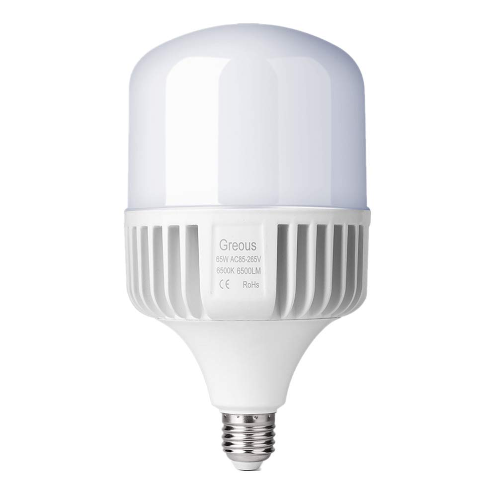Greous Super Bright 400W-500W Light Bulb Equivalent, 65W LED Bulb Cool White 6500K E26, 6500 Lumens,High Watt Commercial Retrofit LED Bulbs for Yard Garage Factory Warehouse Workshop