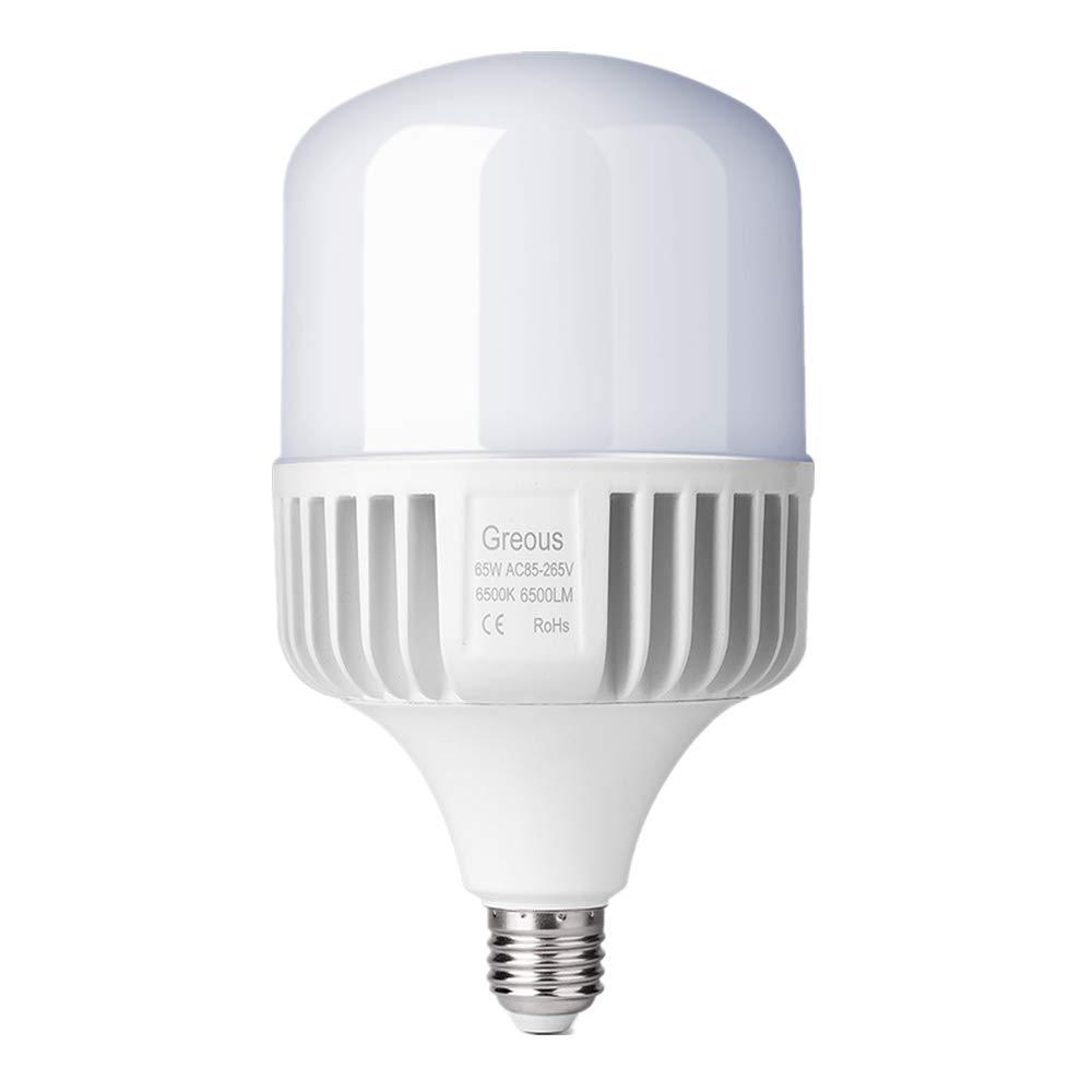 Greous Super Bright 400W-500W Light Bulb Equivalent, 65W LED Bulb Cool White 6500K E26, 6500 Lumens,High Watt Commercial Retrofit LED Bulbs for Yard Garage Factory Warehouse Workshop