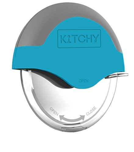 Kitchy Pizza Cutter Wheel with Protective Blade Guard, Super Sharp and Easy To Clean Slicer, Stainless Steel (Blue)