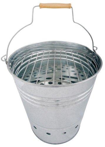 Esschert Design BBQ Eimer, Grilleimer, Grillkübel, Feuerkübel mit Griff, Holzelement am Griff, 34 cm hoch, Ø 30,5 cm