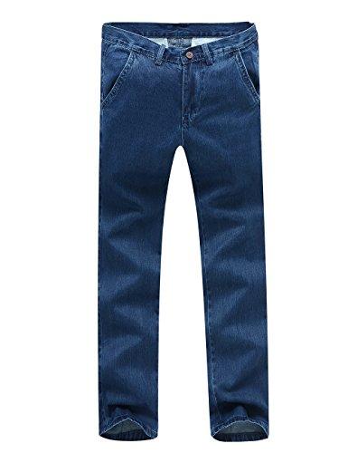 Washed Linen Cropped Pants (Menschwear Men's Denim Blue Jeans Regular Fit 28-38 Stone Washed (33, 028Blue))