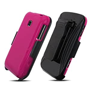 Combo Kit Snap On Cover and Holster Package for LG Optimus 2 (AS-680) - Magenta/Black