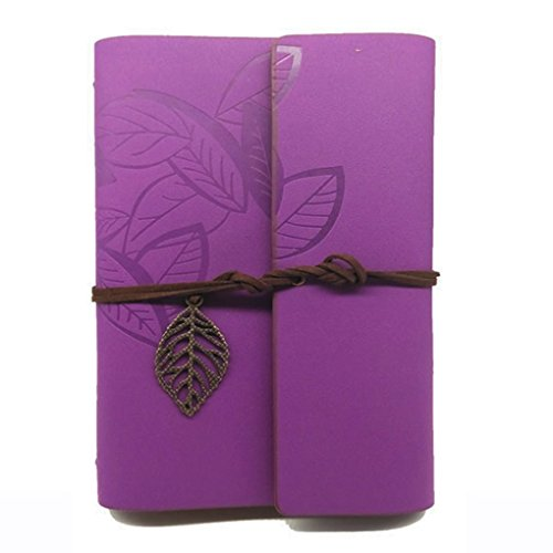 SAYEEC Journal Diary - Bronze Leaves Composition Notebooks Travel Diary Vintage Style PU Cover Notebook Purple