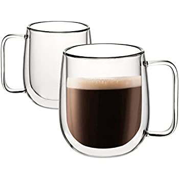 Amazon Com Large Coffee Mugs Double Wall Glass Set Of 2