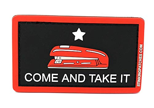 Come and Take It Red Stapler PVC Rubber Tactical Patch   Office Space Inspired   Funny Morale Patch