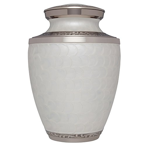 Liliane Memorials White Funeral Urn Cremation Urn for Human Ashes - Hand Made in Brass - Suitable for Cemetery Burial or Niche- Large Size fits Remains of Adults up to 200 lbs- Petals White Model