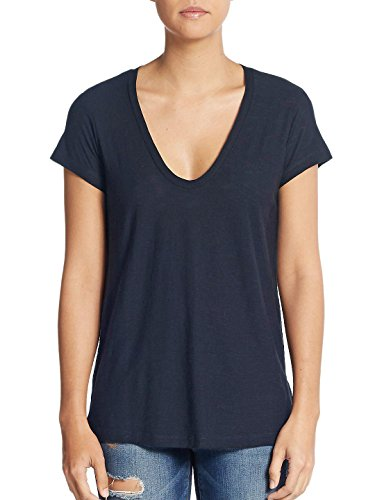 - James Perse V-Neck Cotton Tee (2/Medium, French Blue)