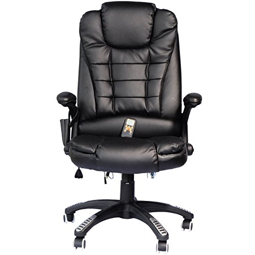 pu leather heated vibrating massage office chair black massage