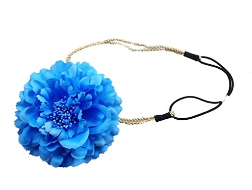 Royal Peony - LD DRESS Bohemia Hair Band Peony Flowers Beach (Royal Blue)