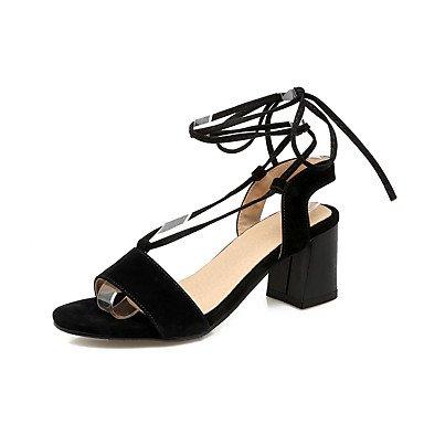 Sandalias Primavera Verano Otoño Tobillo Fleece Oficina & Carrera parte & traje de noche Chunky Heel Lace-up Black