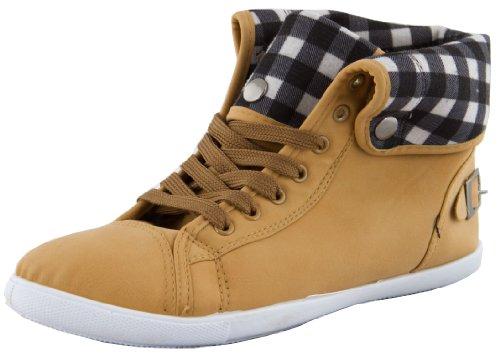 Damen Sneaker Schnürschuhe Schuhe Turnschuhe Damenturnschuhe Halbschuhe mit Schnalle Taupe