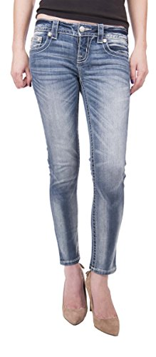 Miss Me Jeans Ankle Length Skinny Leg Light Wash White Stitching Crystal Studs (28)
