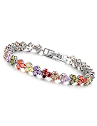 Jade Angel Swarovski Elements Multicoloured Cubic Zirconia Bracelet for Women Wedding Jewelry