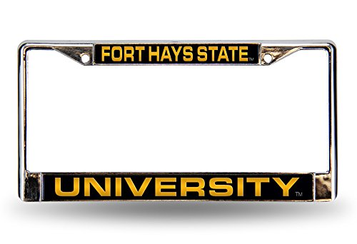 Rico Industries NCAA Fort Hays State Tigers Laser Cut Inlaid Standard License Plate Frame, Chrome, 6