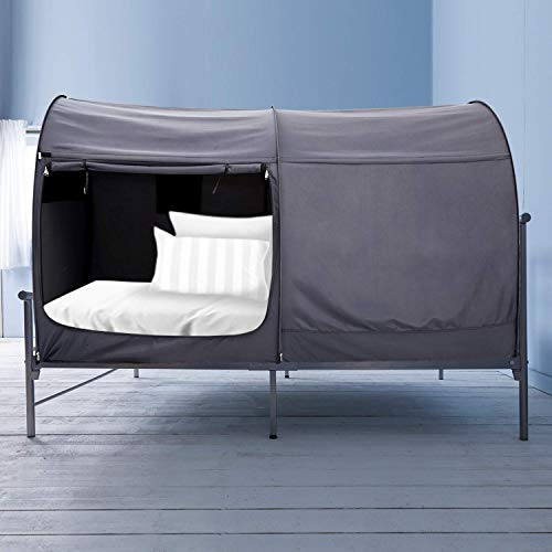 Alvantor Bed Canopy Bed Tents Dream Tents Privacy Space Twin Size Sleeping Tents Indoor Pop Up Portable Frame Curtains Breathable Grey - Canopy Sleeves