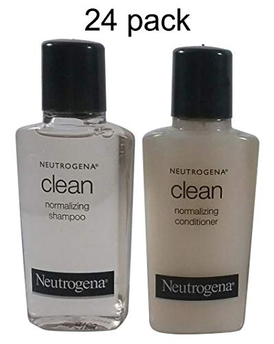 Neutrogena Clean Normalizing Shampoo & Conditioner 0.9 oz bottles - Lot of 24 - (12 each) - Total of 21.6 oz