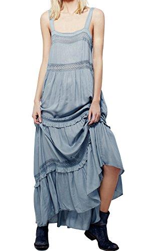CA Mode Women Maxi Summer Beach Evening Prom Peasant Garden Party Slip Dress,Light Blue,Large