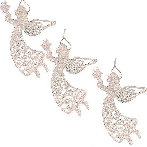 (BANBERRY DESIGNS Large Angel Ornaments - Set of 3 White Glitter Angels Holding a Dove - Memorial Angels - Approx. 12