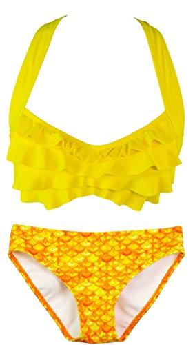 Fin Fun - Mermaidens - Bikini para mujer - Diseño olas - Estilo sirena Amanecer tropical/amarillo